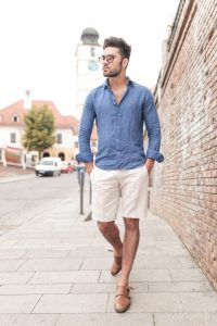 Men in blue shirt, shorts and loafers